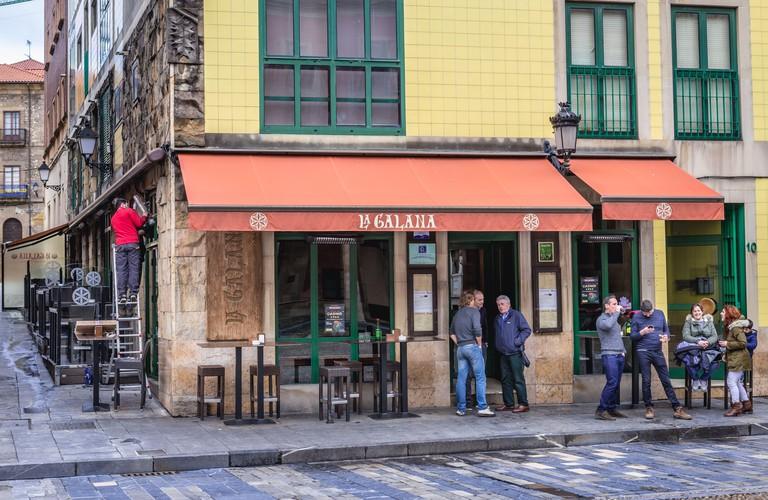 La Galana tapas bar Plaza Mayor - Main Square in Gijon in the autonomous community of Asturias in Spain