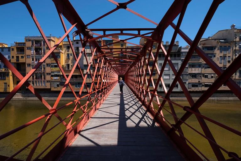 Pont de les Peixateries Velles by Eiffel in Girona, Catalonia, Spain, Europe