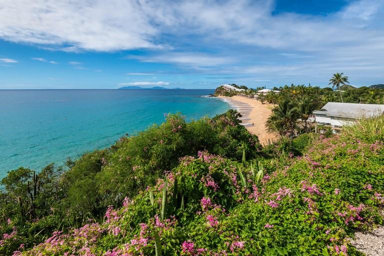Grace Bay and Beach, St. Mary, Antigua, Leeward Islands, West Indies, Caribbean, Central America.