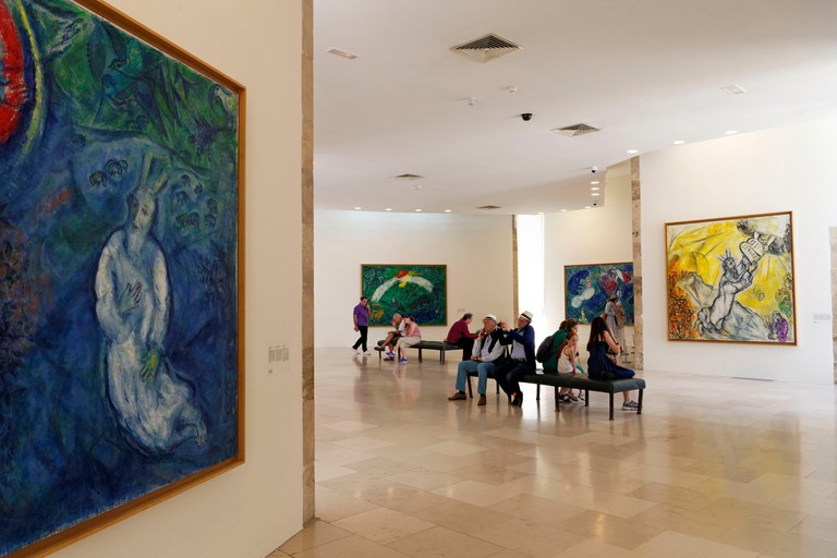 France, Alpes Maritimes, Nice, National Museum of Marc Chagall by architect Andre Hermant and created at the initiative of Andre Malraux, hall of the Biblical Message paintings