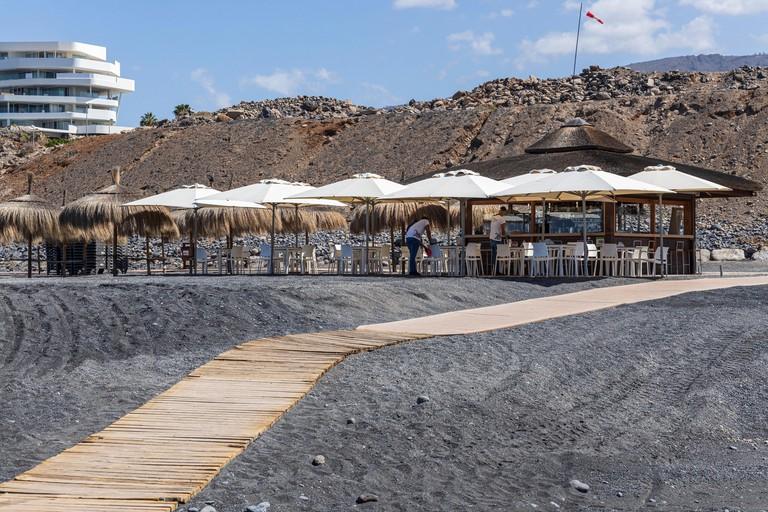 Coqueluche beach bar kiosk preparing to re-open on Playa Enramada beach during phase one of de-escalation of the Covid 19, coronavirus, State of Emerg