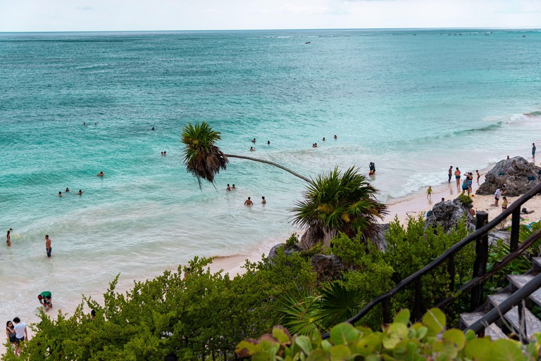 Crystal clear turquoise water on a Mexican sandy beach under palm trees - tourist attraction and holiday destination in Tulum, Mexico, Caribbean Sea
