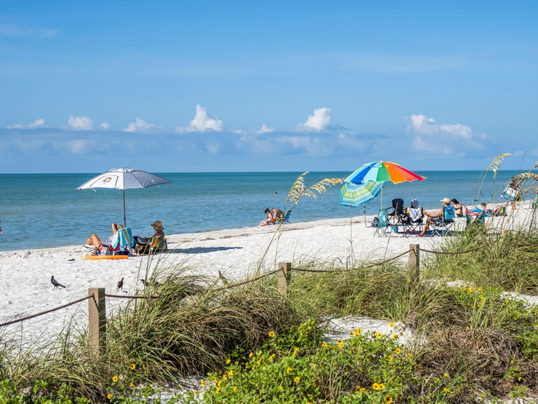 Beach in Lighthouse Beach Park on the eastern tip of Sanibel Island on the Gulf of Mexico in the United States
