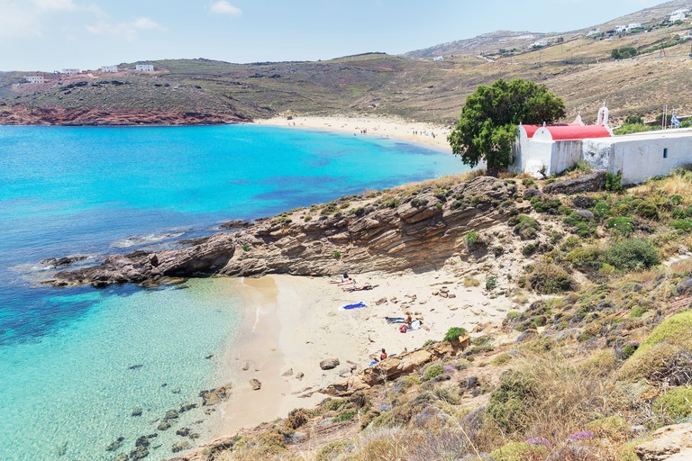 2C6B6MG Kalafati Beach, Mykonos, Cyclades Islands, Greek Islands, Greece, Europe
