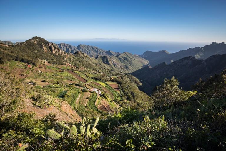 Mountain village in the Anaga Mountains, on the horizon Gran Canaria, Tenerife, Canary Islands, Spain
