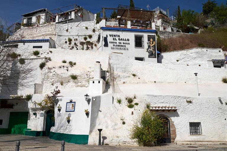 The Venta El Gallo (upper) and La Zambra de Maria La Canastera (lower) flamenco caves in the gypsy quarter of Sacromonte, Granada, Andalusia, Spain.
