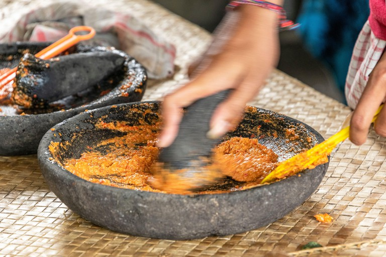 2CCFYDK Balinese cuisine is the traditional cookery of Balinese people from the volcanic island of Bali. Using a variety of spices, blended with fresh vegetables, meat and fish