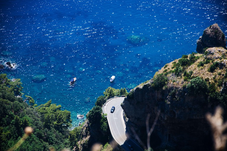 Amalfi Coast road: aerial view of hairpin bend.