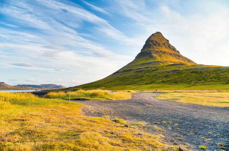 Kirkjufell Mountain on a wonderful summer sunset