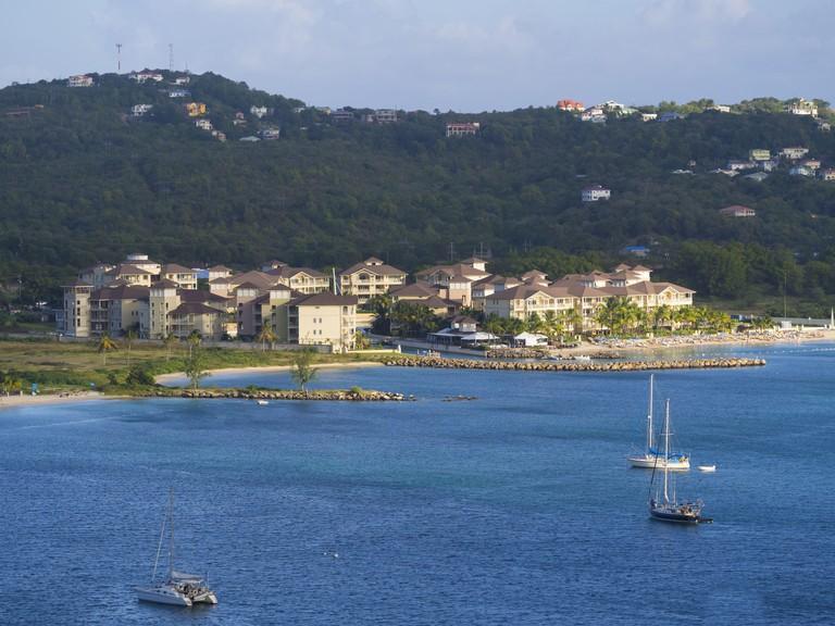 View above Rodney Bay to marina