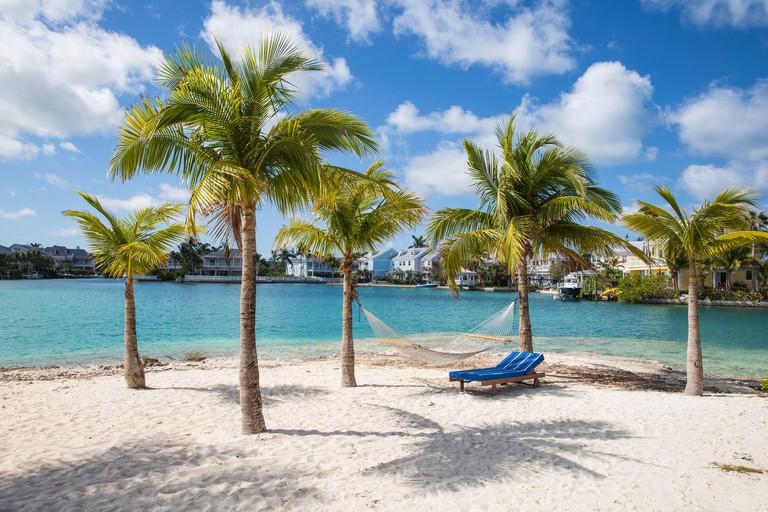 Caribbean, Bahamas, Providence Island, Nassau, Beach at Sandyport Marina Village