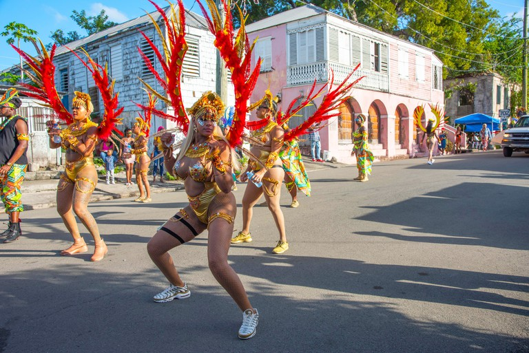 2D7DK34 Frederiksted, St. Croix, US Virgin Islands-January 4,2020: Annual parade with dancers and spectators celebrating Caribbean culture on St. Croix