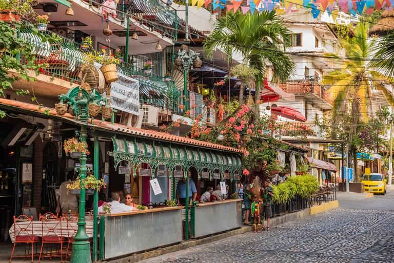 Restaurants and apartment buildings in Zona Romantica in Puerto Vallarta, Jalisco, Mexico.