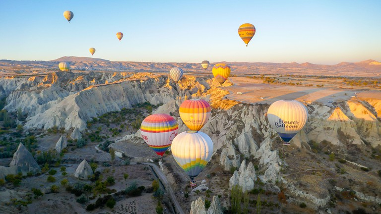 Balloons in the morning. Cappadocia, the neighborhood of Goreme, is an amazing place. View from above.