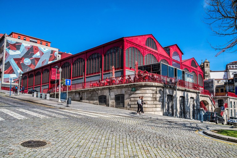 10 March 2020: Porto, Portugal - The Mercado Ferreira Borges, a market hall built in the 1880s in Porto, now a nightclub and restaurant.
