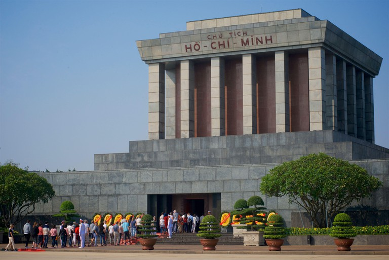 People queuing to visit Ho Chi Minh's grand mausoleum, Ba Dinh Square, Hanoi, Vietnam