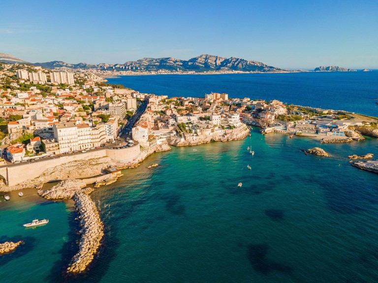 France, Bouches du Rhone, Marseille, the Corniche of President John Fitzgerald Kennedy (aerial view)