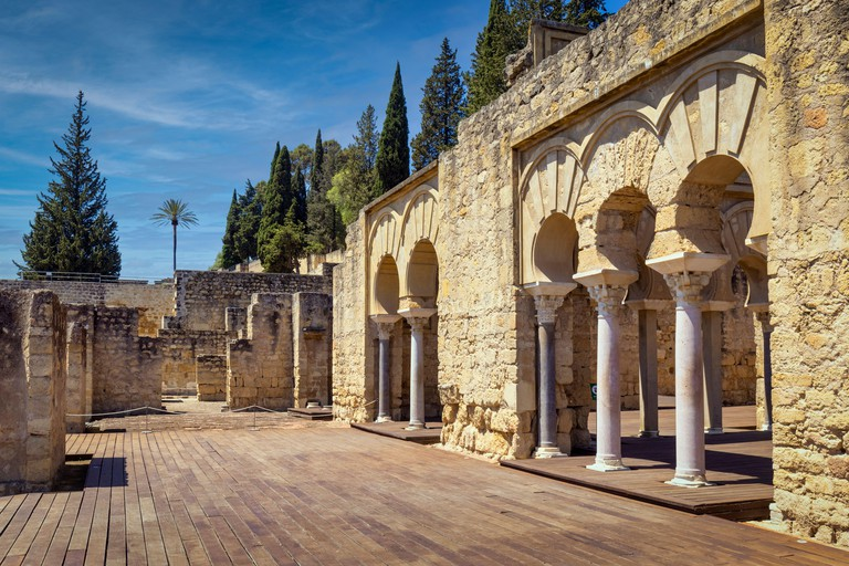 Upper Basilical Hall in the administrative area of the 10th century fortified palace and city of Medina Azahara, also known as Madinat al-Zahra, Cordo