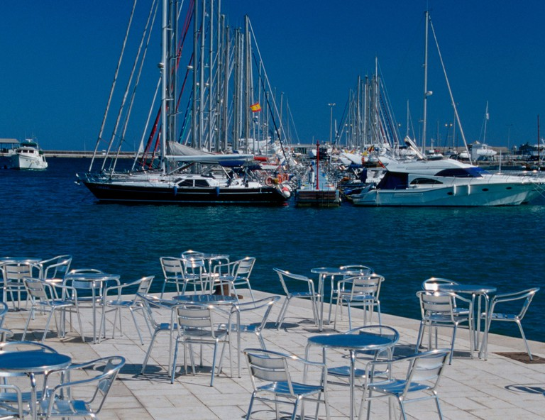 Terrace of cafe Noray and yacht harbour, Alicante, Costa Blanca, Spain