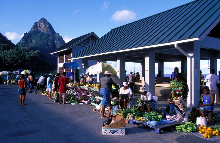 Fruits and vegetables market in Soufriere St Lucia