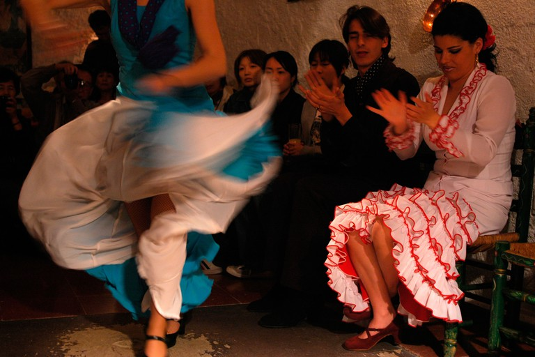 Flamenco dance in Zambra Los Tarantos Bar Camino del Sacromonte Street GRANADA Andalusia Region Spain