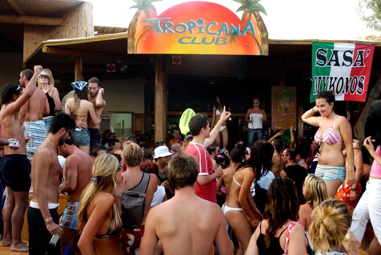 ABGC7M Tropicana Club at Paradise Beach on Mykonos Greek Islands Greece