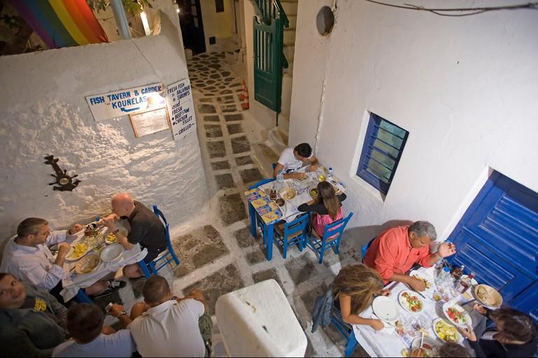 Greek fish restaurant Kounelas Mykonos Town Mykonos Greece