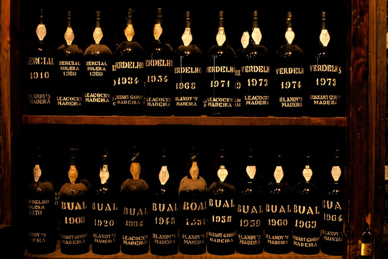 Bottles of Madeira wine of varying vintages on display at the Adegas de Sao Francisco in Funchal. Image shot 2005. Exact date unknown.