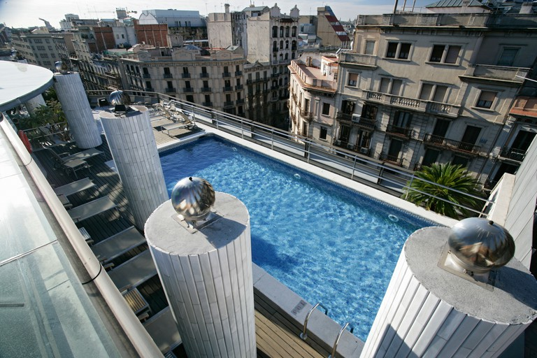 The Claris Hotel rooftop pool Barcelona Spain