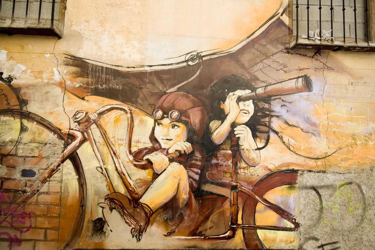 Graffiti by the artist known as El Nino de las Pinturas'', Granada, Spain