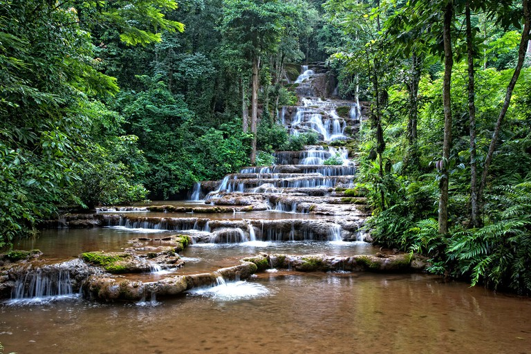 Views of the tiers of Pha Charoen Waterfall, Tak, Thailand. Image shot 2008. Exact date unknown.
