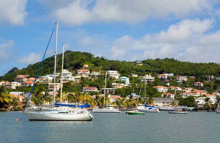 """Yachts in Rodney Bay Marina, St Lucia, """"West Indies"""", Windward Islands, Caribbean. Image shot 08/2008. Exact date unknown."""