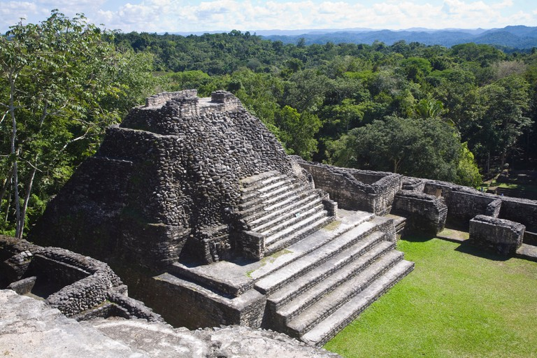Plaza B temple, Mayan ruins, Caracol, Belize, Central America