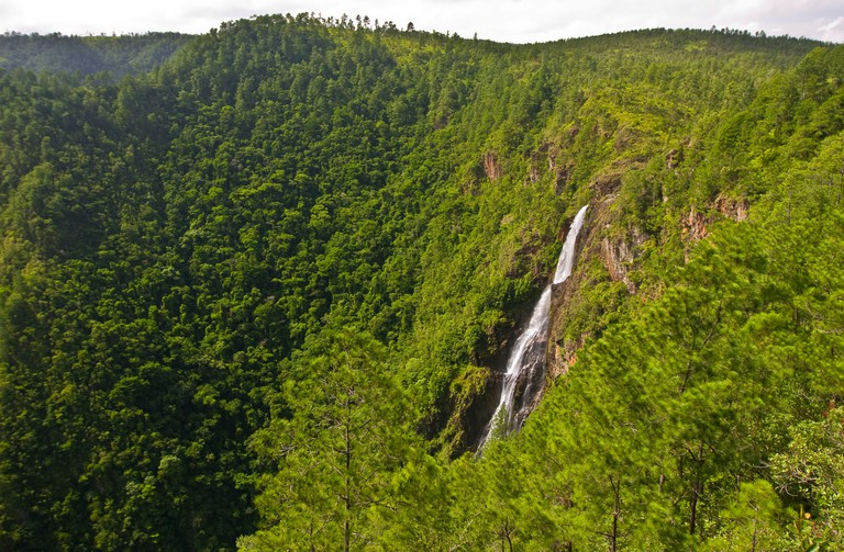 CAYO DISTRICT BELIZE Thousand Foot Falls in the lush Mountain Pine Ridge Forest Reserve