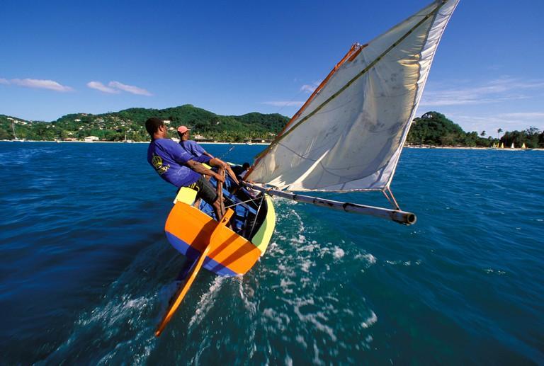 Workboat hard on the wind during the annual regatta, Grenada Sailing Festival, Grenada, Caribbean.