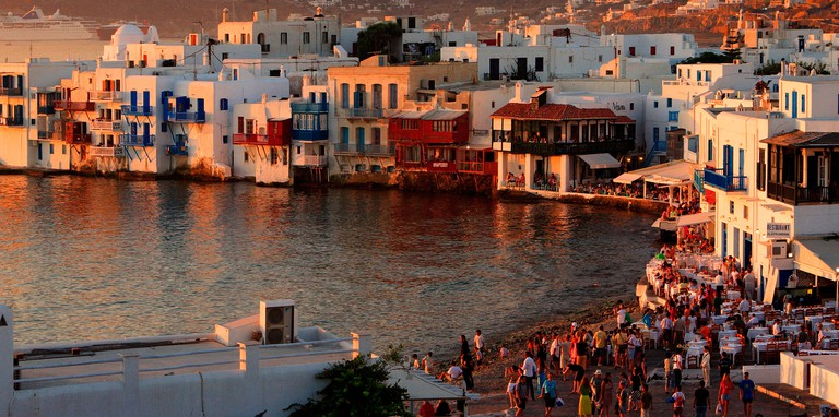 """BY7GW6 Famous """"Little Venice"""" in the Hora of Mykonos, around sunset. Image shot 2007. Exact date unknown."""