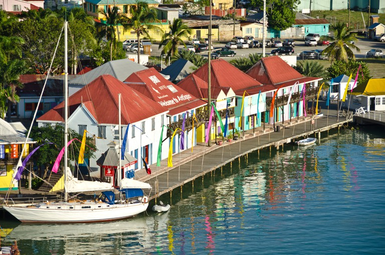 Looking down on the shops and sailboat at Redcliffe Quay, St Johns, Antigua from Caribbean cruise ship