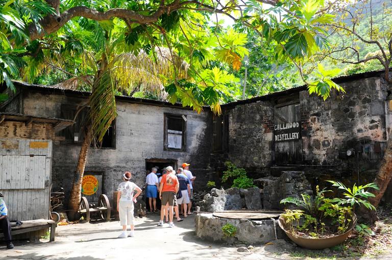 Callwood Rum Distillery Tortola BVI Caribbean Cruise . Image shot 1000. Exact date unknown.