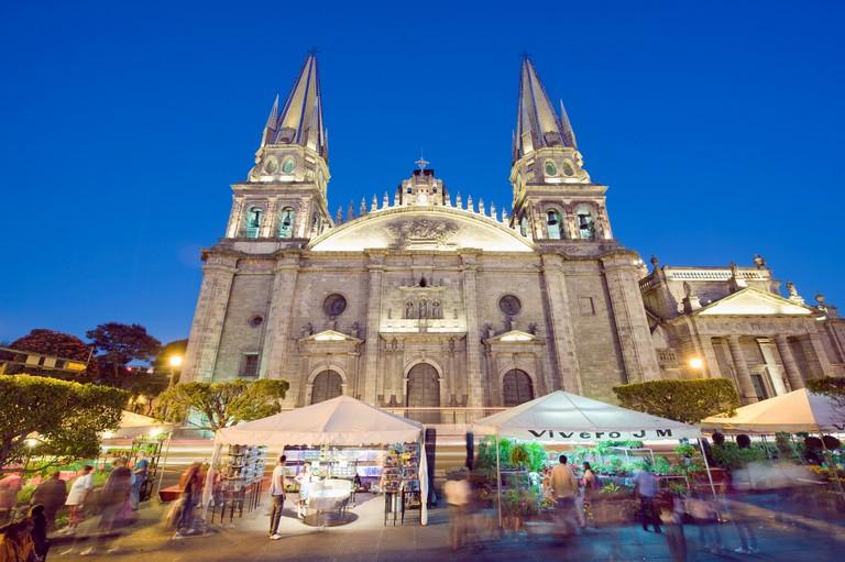 Cathedral in Plaza de Armas, Guadalajara, Mexico