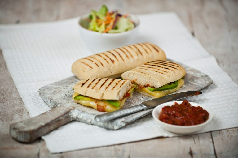 Toasted cheese and avocado panini