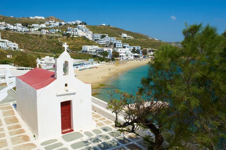 CFF59G Agios Stefanos, Orthodox chapel near the beach, Chora, Mykonos