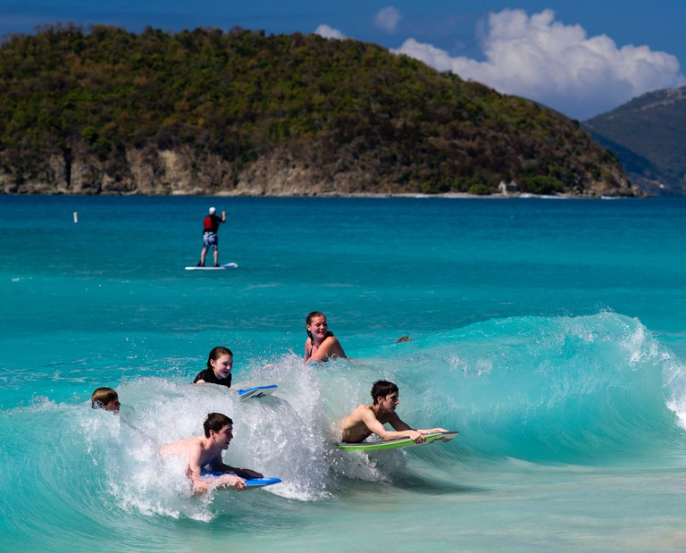 CFMYPG People enjoy Sun & surf at Cinnamon Bay, St. John's, US Virgin Islands