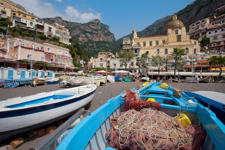 Fishing boats at beach of the village Positano, Amalfi coast, Unesco World Heritage site, Campania, Italy, Mediterranean sea, Europe