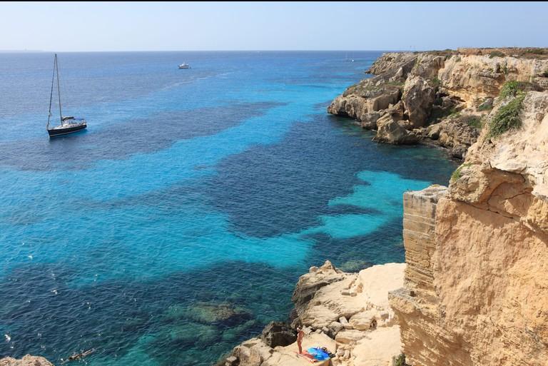 Cliff, Favignana, Sicily, Italy, Mediterranean, Europe