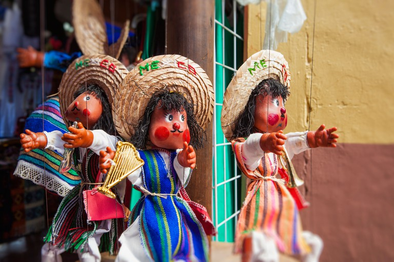 Puppets in market, Market 28 (Mercado 28), Cancun, Yucatan Peninsula, Quintana Roo, Mexico
