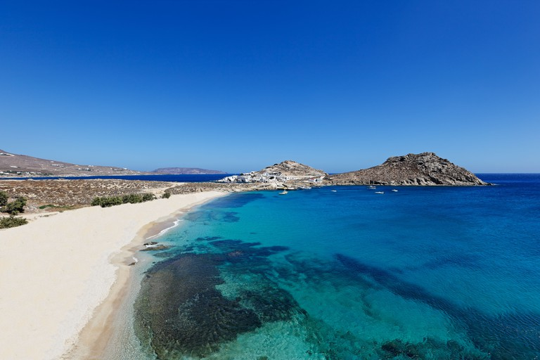 CXY37E Agia Anna is one of the most exotic beaches in Mykonos, Greece