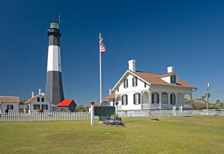 GA00051-00...GEORGIA - Historic Tybee Island Lighthouse on Tybee Island near Savannah.