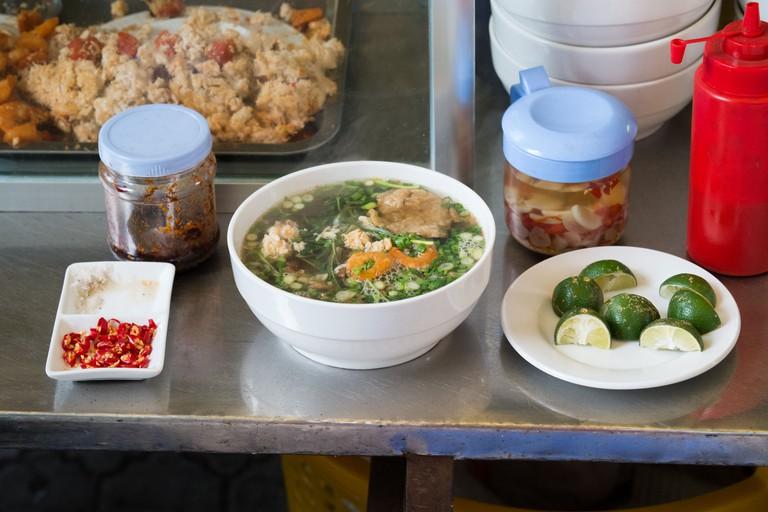 Street food Hanoi style. Sea food hotpot taken at a street stall in Hanoi's Old Quarter in Vietnam