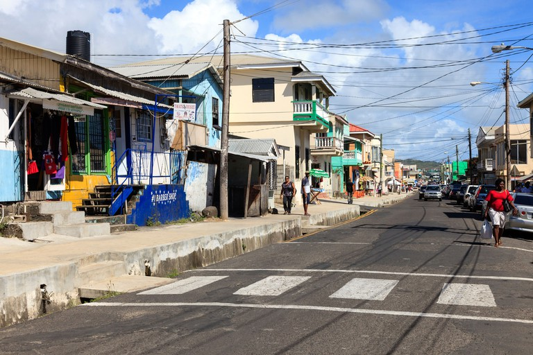 View along Clark Street, Vieux Fort, St Lucia. Clark Street is the main thoroughfare in the town