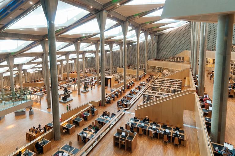 Interior of Main Reading Room of Bibliotheca Alexandrina (Library of Alexandria), Egypt